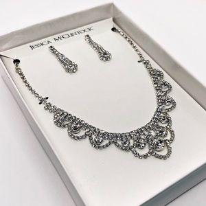 Jessica McClintock Rhinestone Necklace &Earrings